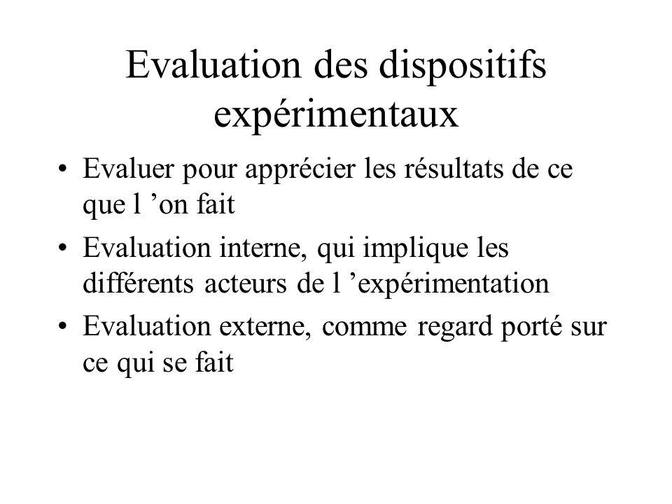 Evaluation des dispositifs expérimentaux Evaluer pour apprécier les résultats de ce que l on fait Evaluation interne, qui implique les différents acte