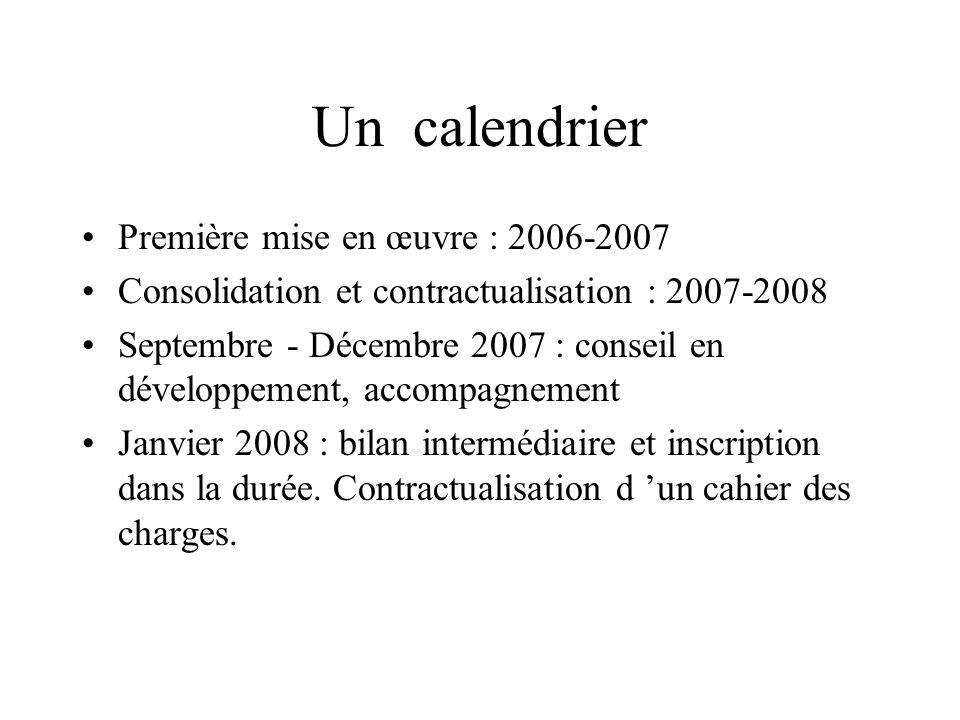 Un calendrier Première mise en œuvre : 2006-2007 Consolidation et contractualisation : 2007-2008 Septembre - Décembre 2007 : conseil en développement,