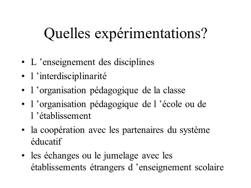 Quelles expérimentations? L enseignement des disciplines l interdisciplinarité l organisation pédagogique de la classe l organisation pédagogique de l
