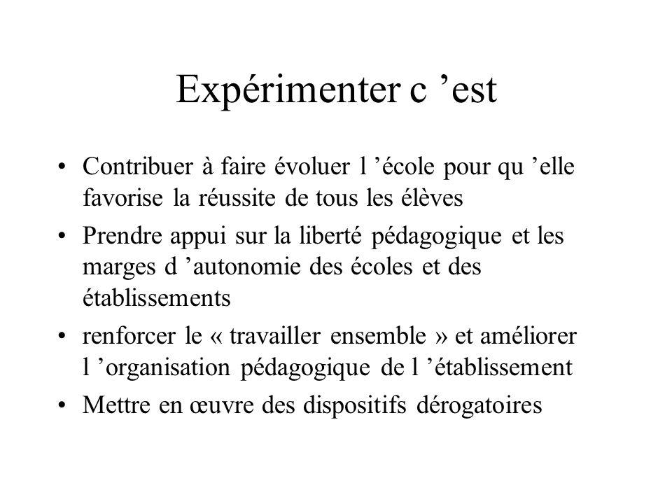 Expérimenter consiste alors à...