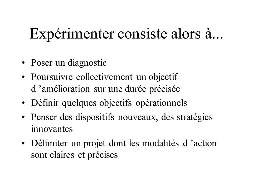 Expérimenter consiste alors à... Poser un diagnostic Poursuivre collectivement un objectif d amélioration sur une durée précisée Définir quelques obje