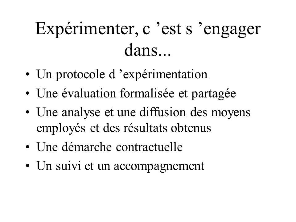 Expérimenter, c est s engager dans... Un protocole d expérimentation Une évaluation formalisée et partagée Une analyse et une diffusion des moyens emp