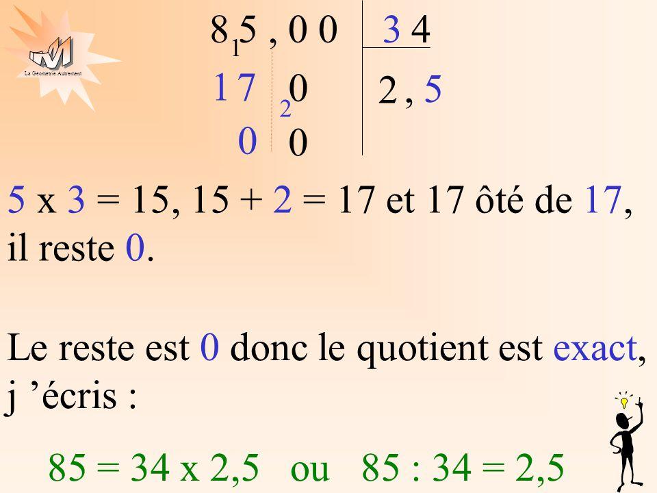 La Géométrie Autrement 2 4 5, 0 083 7 1 1 0,5 5 x 3 = 15, 15 + 2 = 17 et 17 ôté de 17, il reste 0. 2 0 0 Le reste est 0 donc le quotient est exact, j