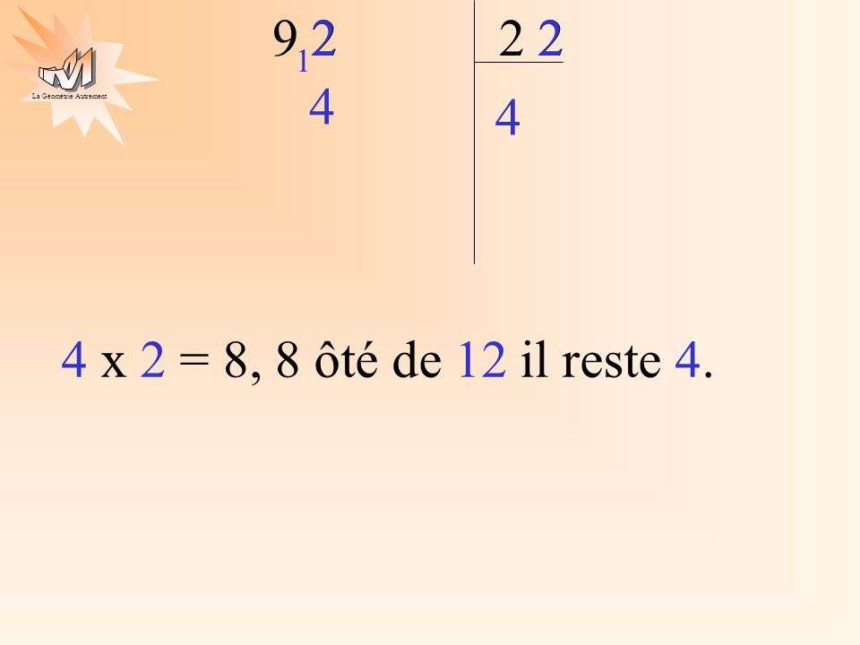 La Géométrie Autrement 2 9 2 4 22 1 4 4 x 2 = 8, 8 ôté de 12 il reste 4.