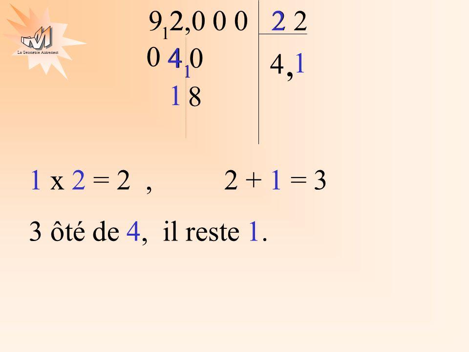 La Géométrie Autrement 1 2 9 2 4 2,0 0 0 1 4, 4 0 2 1 8 4 1 1 x 2 = 2, 2 + 1 = 3 3 ôté de 4, il reste 1. 1 0