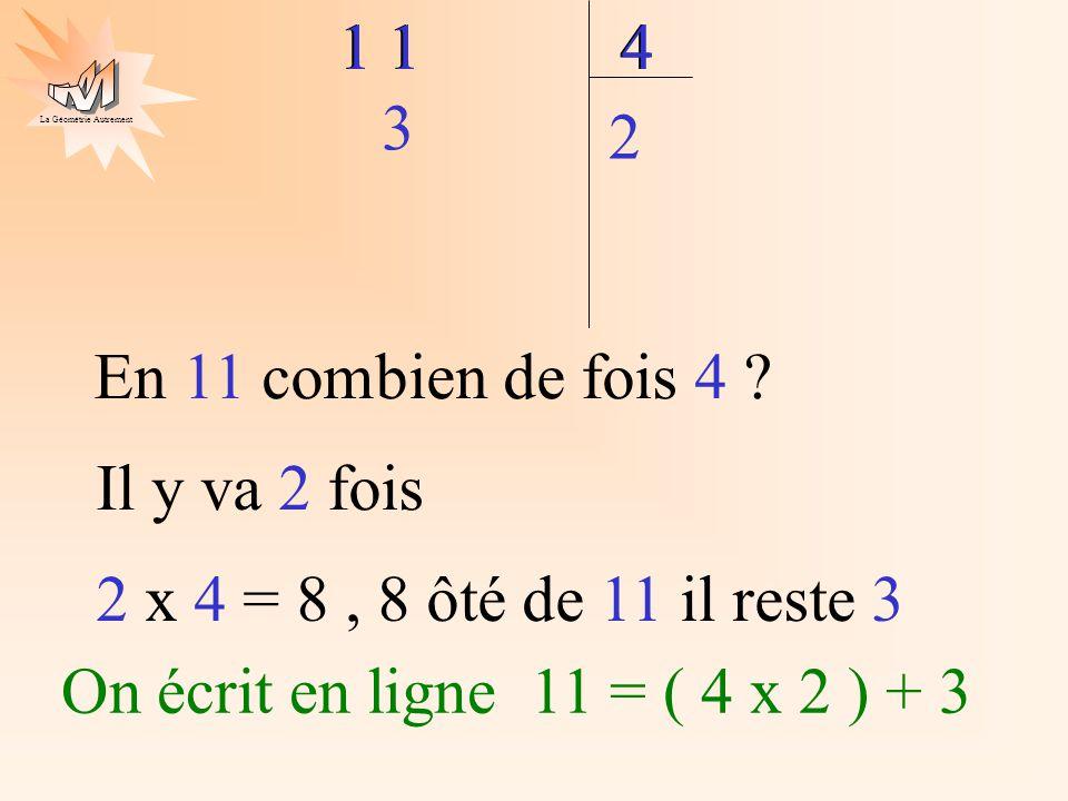 La Géométrie Autrement 1 4 En 11 combien de fois 4 ? 1 4 Il y va 2 fois 2 2 x 4 = 8, 8 ôté de 11 il reste 3 3 On écrit en ligne 11 = ( 4 x 2 ) + 3