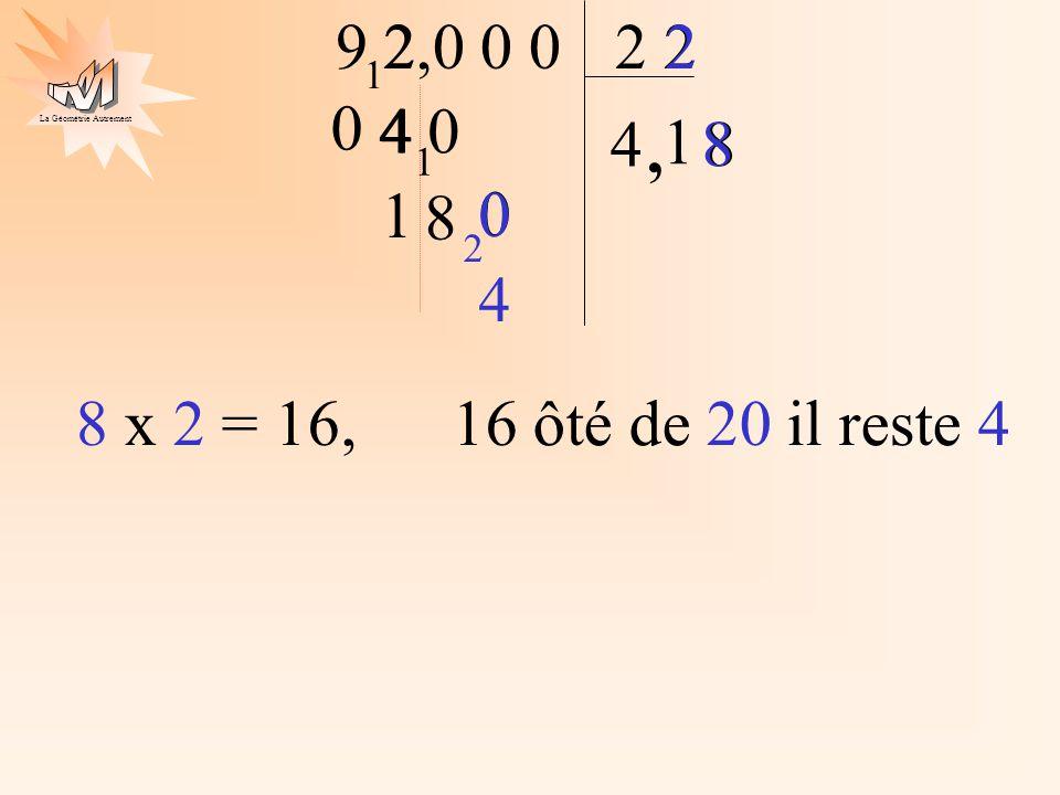 La Géométrie Autrement 2 9 2 4 2,0 0 0 1 4, 4 0 1 1 8 1 0 8 2 0 8 2 4 8 x 2 = 16, 16 ôté de 20 il reste 4 0