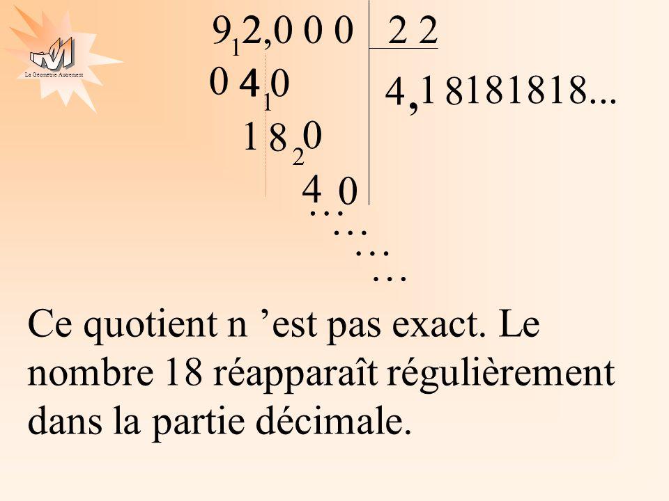 La Géométrie Autrement 4 0 2 9 2 4 2,0 0 0 1 4, 1 1 8 1 0 8 2 4 0 181818... … … … … Ce quotient n est pas exact. Le nombre 18 réapparaît régulièrement