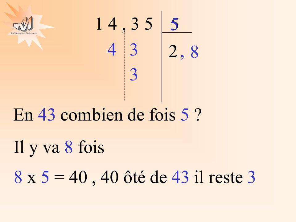 La Géométrie Autrement 1 4, 3 5 5 2 4 5 3, 8 3 En 43 combien de fois 5 ? Il y va 8 fois 8 x 5 = 40, 40 ôté de 43 il reste 3