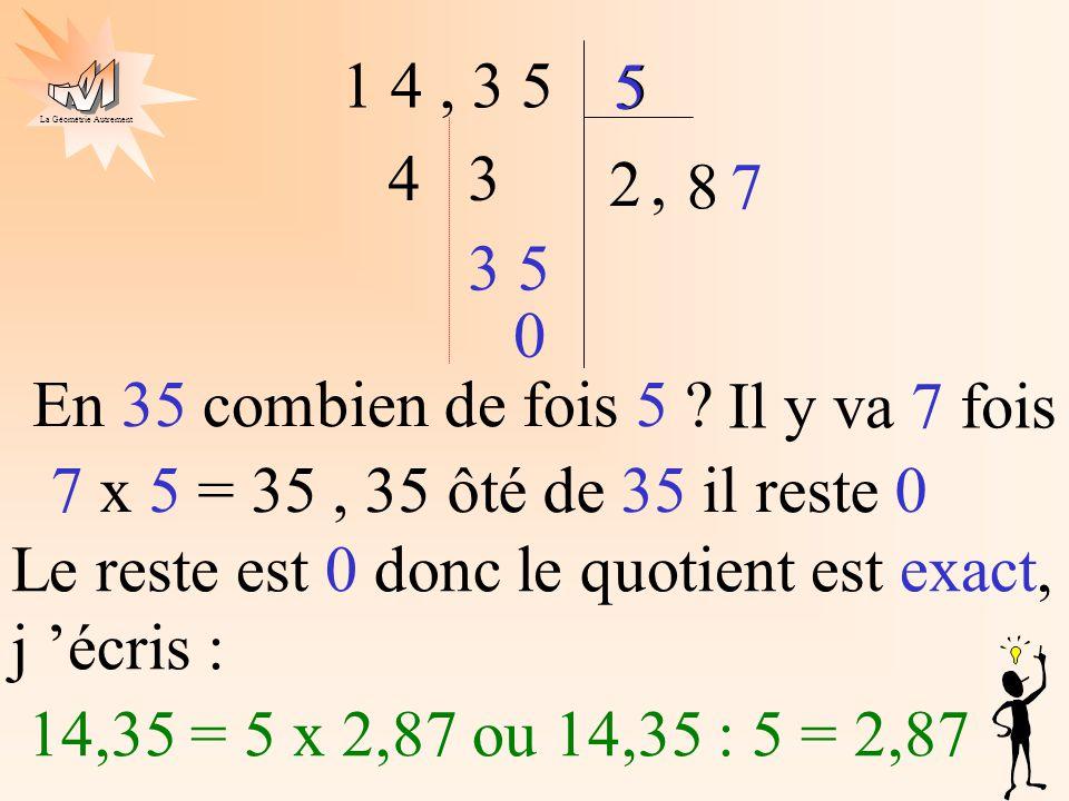 La Géométrie Autrement 1 4, 3 5 5 2 4 5 3, 8 35 7 0 En 35 combien de fois 5 ? Il y va 7 fois 7 x 5 = 35, 35 ôté de 35 il reste 0 Le reste est 0 donc l