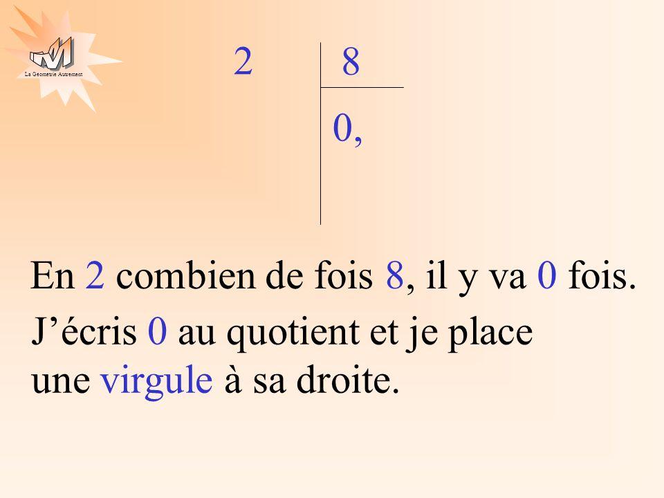 La Géométrie Autrement 2 8 En 2 combien de fois 8, il y va 0 fois. 0, Jécris 0 au quotient et je place une virgule à sa droite.