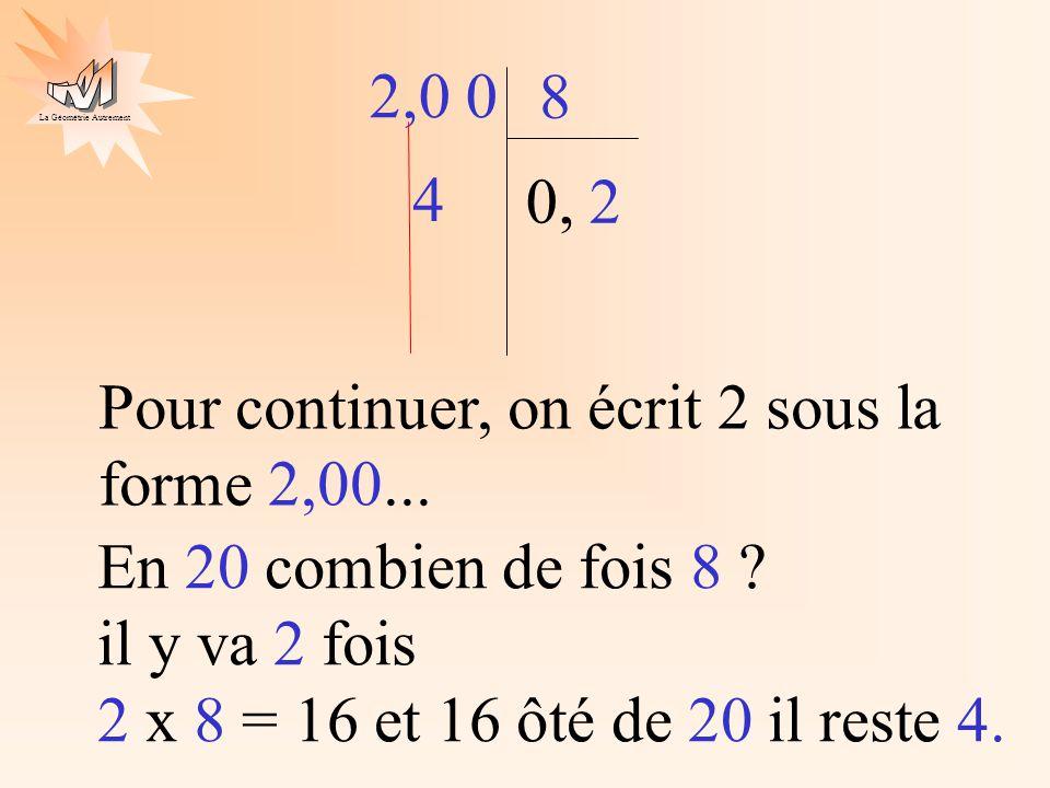 La Géométrie Autrement 2,0 0 8 0, Pour continuer, on écrit 2 sous la forme 2,00... En 20 combien de fois 8 ? il y va 2 fois 2 x 8 = 16 et 16 ôté de 20