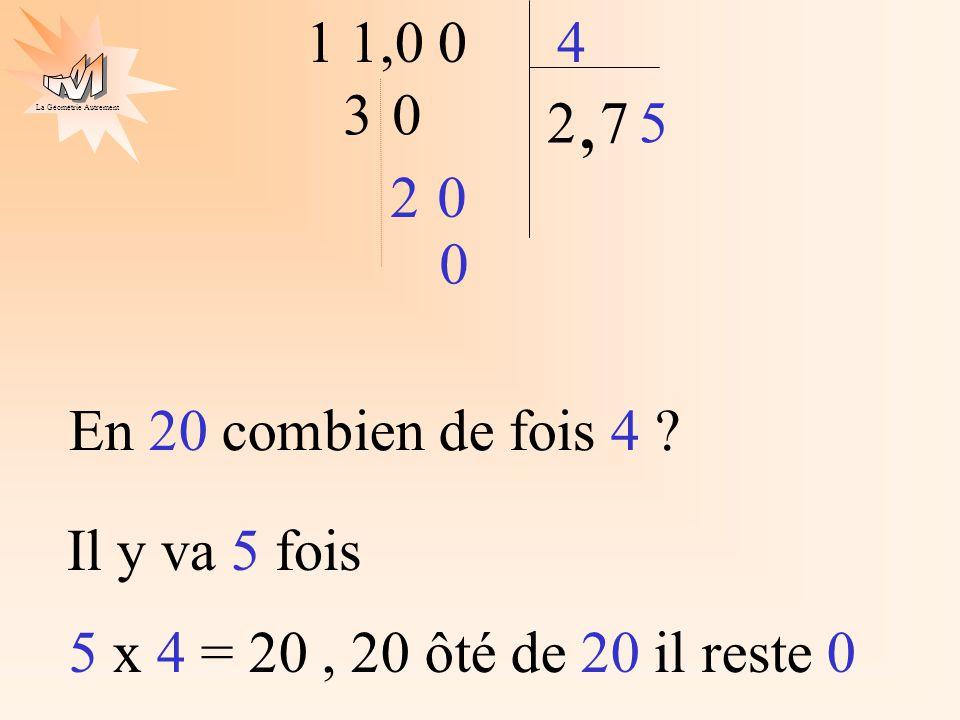 La Géométrie Autrement 1 1,0 04 2 30, 7 20 En 20 combien de fois 4 ? Il y va 5 fois 5 5 x 4 = 20, 20 ôté de 20 il reste 0 0