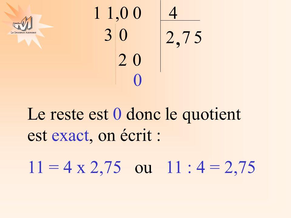 La Géométrie Autrement 1 1,0 04 2 30, 7 20 5 0 Le reste est 0 donc le quotient est exact, on écrit : 11 = 4 x 2,75 ou 11 : 4 = 2,75