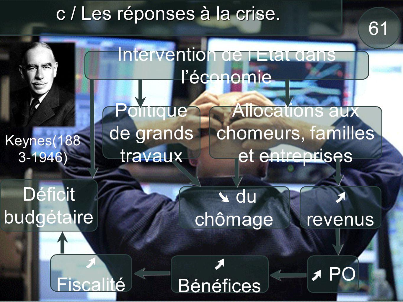 62 c / Les réponses à la crise.