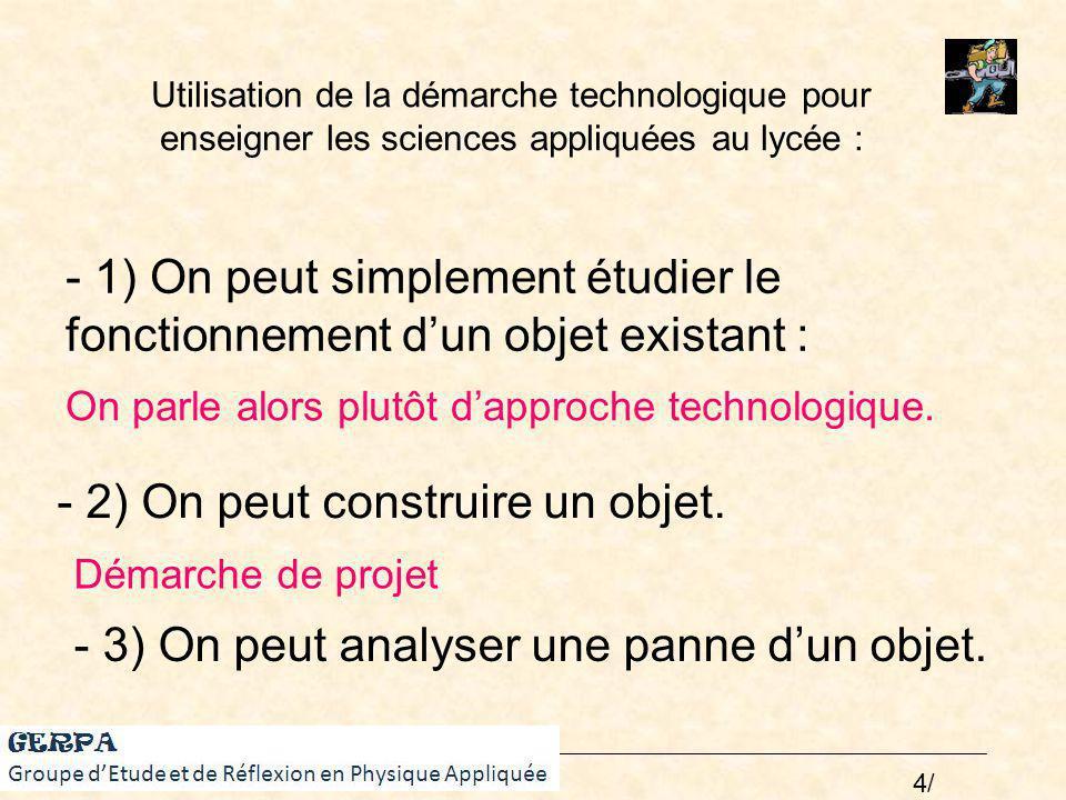 Utilisation de la démarche technologique pour enseigner les sciences appliquées au lycée : GERPA - 2) On peut construire un objet. - 1) On peut simple