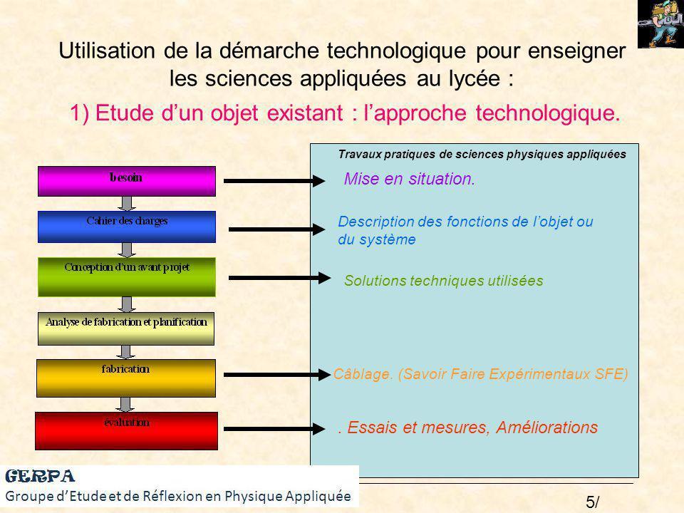 Utilisation de la démarche technologique pour enseigner les sciences appliquées au lycée : Mise en situation. Description des fonctions de lobjet ou d