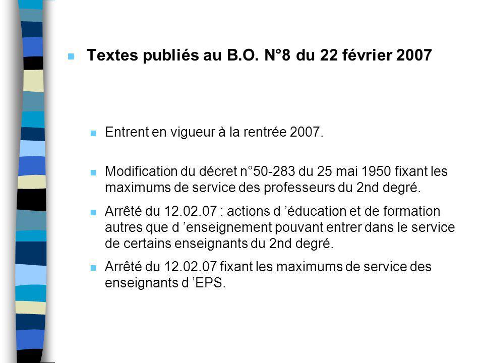 n Modification du décret n°50-283 du 25 mai 1950 … n Maximums de services hebdomadaires : - professeurs agrégés : 17 heures - professeurs et C.E.