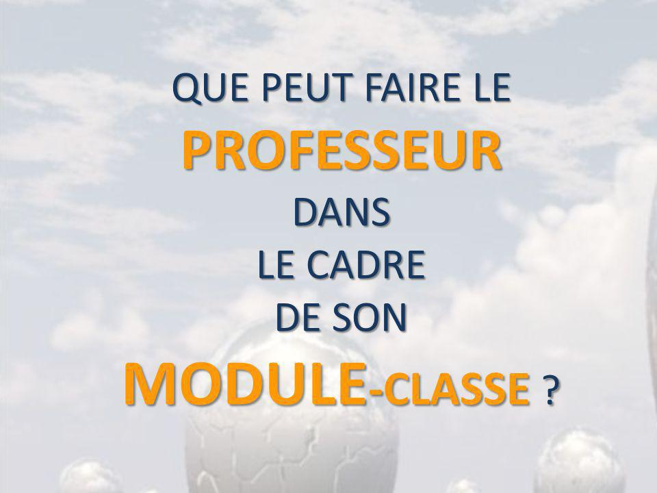 QUE PEUT FAIRE LE PROFESSEUR DANS LE CADRE DE SON MODULE -CLASSE ?