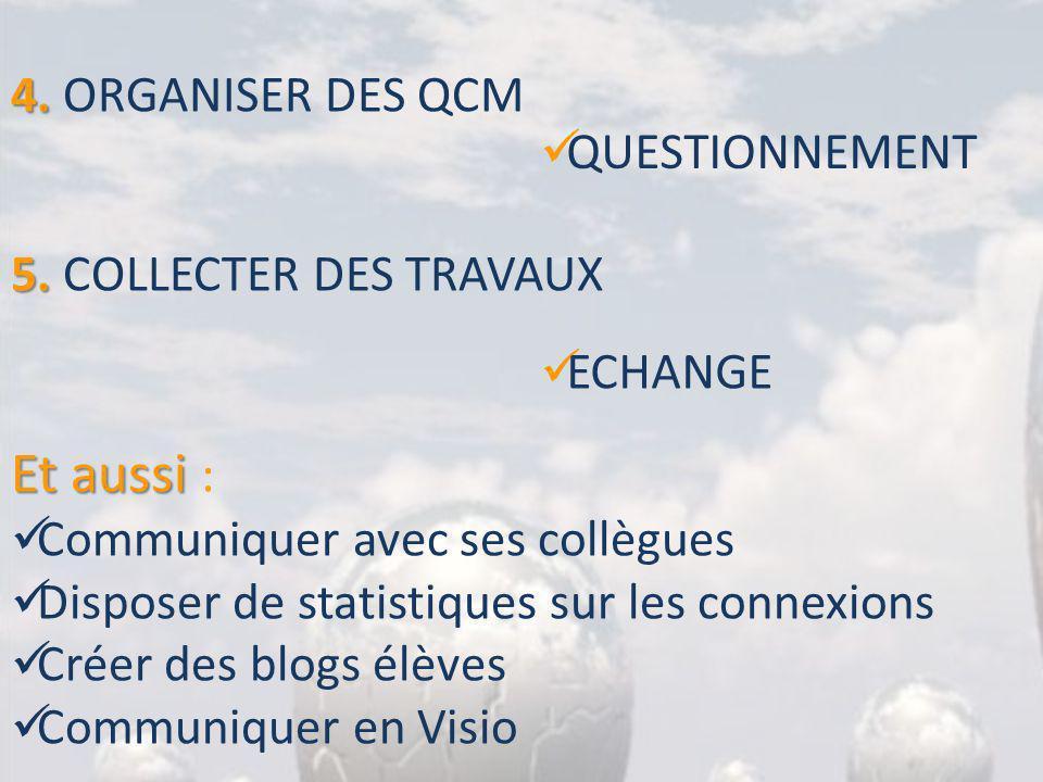4. 4. ORGANISER DES QCM QUESTIONNEMENT 5. 5. COLLECTER DES TRAVAUX ECHANGE Et aussi Et aussi : Communiquer avec ses collègues Disposer de statistiques