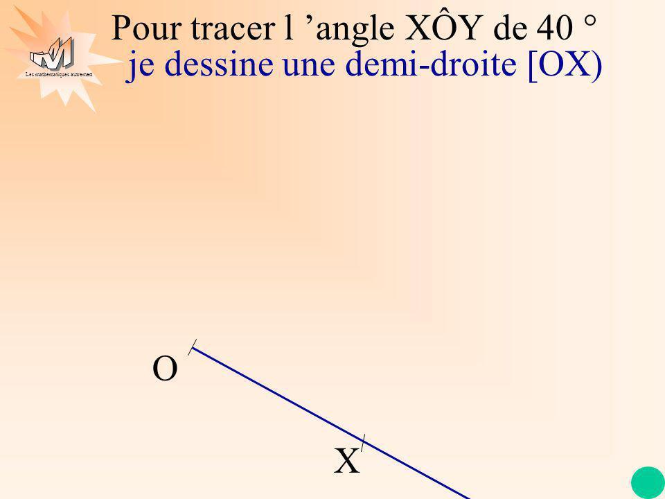 Les mathématiques autrement Pour tracer l angle XÔY de 40 ° je dessine une demi-droite [OX) je place le centre du rapporteur sur le point O le trait du rapporteur sur la demi-droite [OX) O X