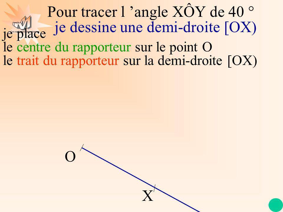 Les mathématiques autrement Pour tracer l angle XÔY de 40 ° O X je place le centre du rapporteur sur le point O le trait du rapporteur sur la demi-droite [OX) je dessine une demi-droite [OX) je repère la graduation 40 °