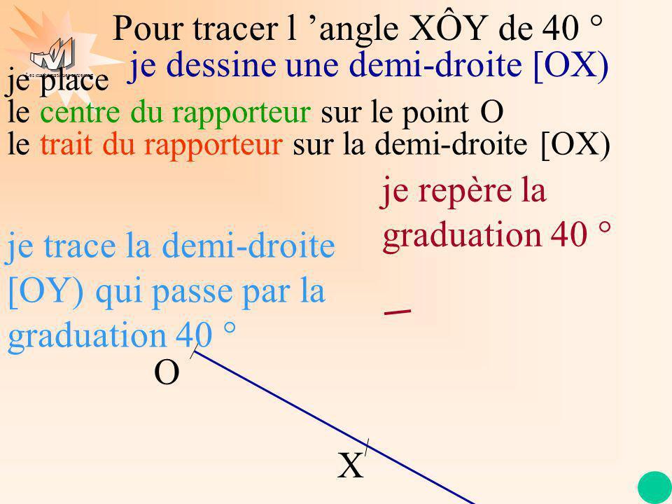Les mathématiques autrement Pour tracer l angle XÔY de 40 ° O X je place le centre du rapporteur sur le point O le trait du rapporteur sur la demi-droite [OX) je dessine une demi-droite [OX) je trace la demi-droite [OY) qui passe par la graduation 40 ° je repère la graduation 40 °