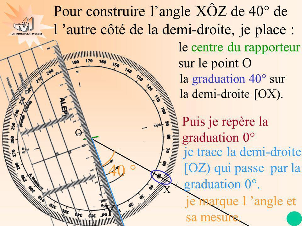 Les mathématiques autrement O Pour construire langle XÔZ de 40° de l autre côté de la demi-droite, je place : X la graduation 40° sur la demi-droite [