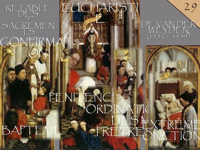 LYCÉE LALANDE ANNÉE 2010-2011 1 29 BAPTEME RETABLEDES7 SACREMEN TS DE VAN DER WEYDEN (1452 - 1454) CONFIRMATI ON PENITENCE EUCHARISTI E ORDINATION DES