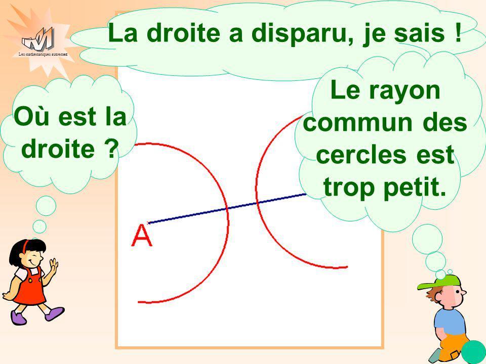 Les mathématiques autrement Où est la droite ?. Le rayon commun des cercles est trop petit. La droite a disparu, je sais !