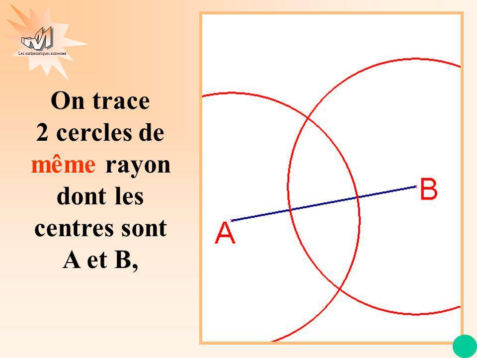 Les mathématiques autrement puis la droite qui joint les points d intersection de ces 2 cercles.