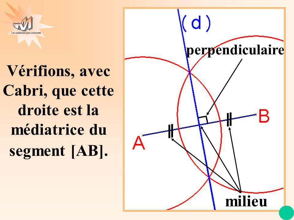 Les mathématiques autrement Vérifions, avec Cabri, que cette droite est la médiatrice du segment [AB]. milieu perpendiculaire