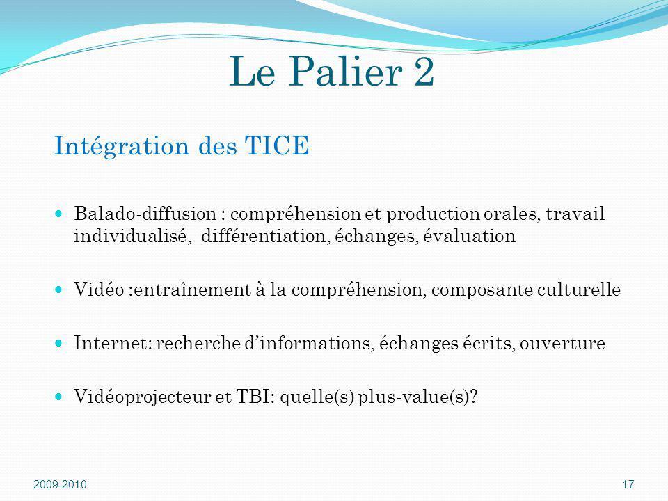 Le Palier 2 2009-201017 Balado-diffusion : compréhension et production orales, travail individualisé, différentiation, échanges, évaluation Vidéo :ent