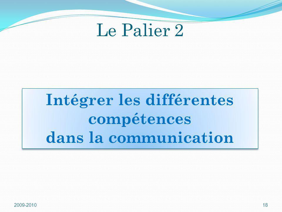 Le Palier 2 2009-201018 Intégrer les différentes compétences dans la communication Intégrer les différentes compétences dans la communication