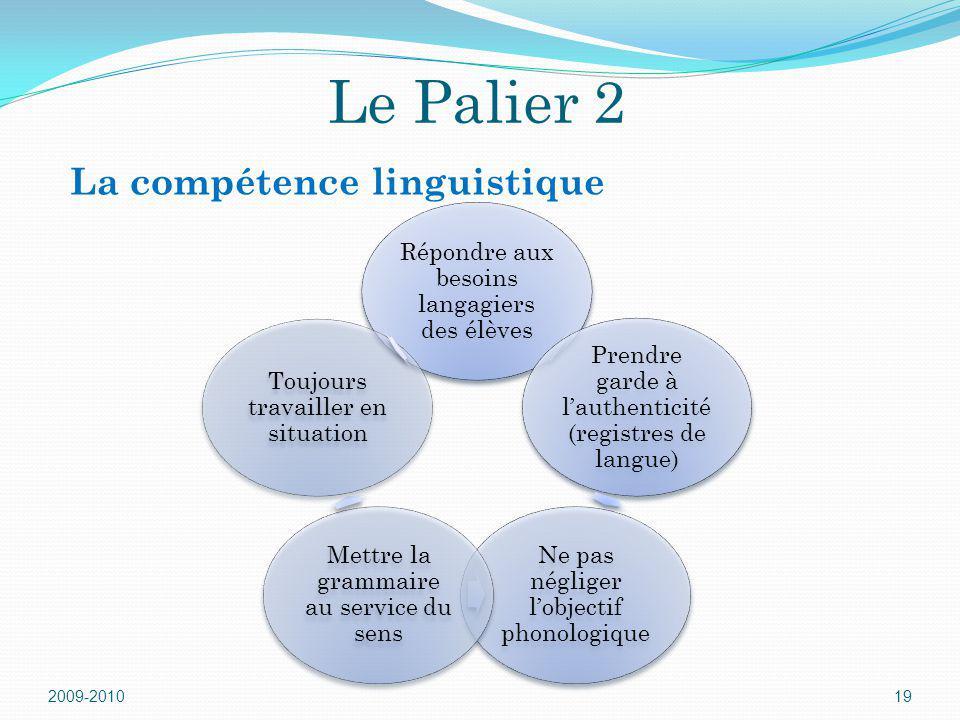 Le Palier 2 Répondre aux besoins langagiers des élèves Prendre garde à lauthenticité (registres de langue) Ne pas négliger lobjectif phonologique Mett
