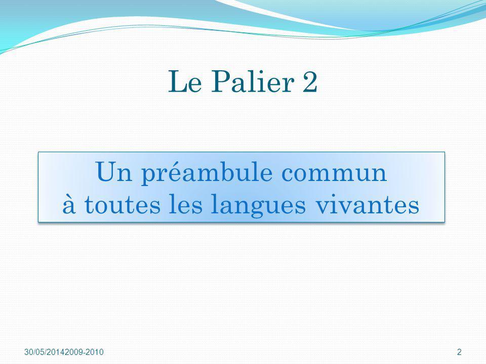 30/05/20142009-20102 Un préambule commun à toutes les langues vivantes Un préambule commun à toutes les langues vivantes Le Palier 2