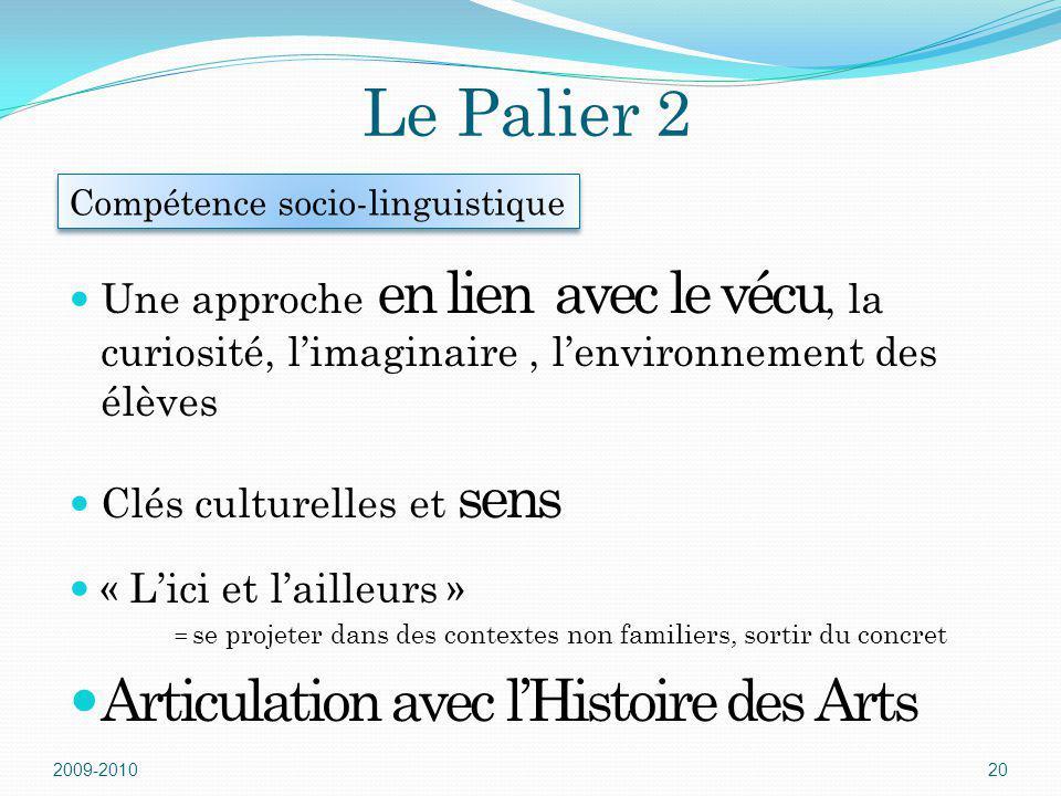 Le Palier 2 Une approche en lien avec le vécu, la curiosité, limaginaire, lenvironnement des élèves Clés culturelles et sens « Lici et lailleurs » = s