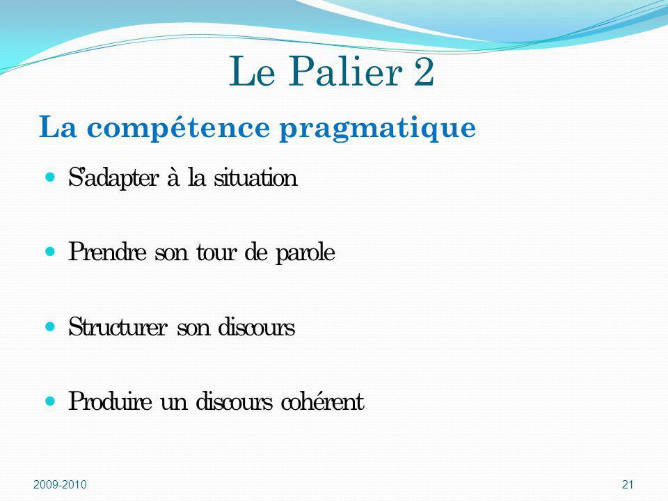 Le Palier 2 Sadapter à la situation Prendre son tour de parole Structurer son discours Produire un discours cohérent 2009-201021 La compétence pragmat