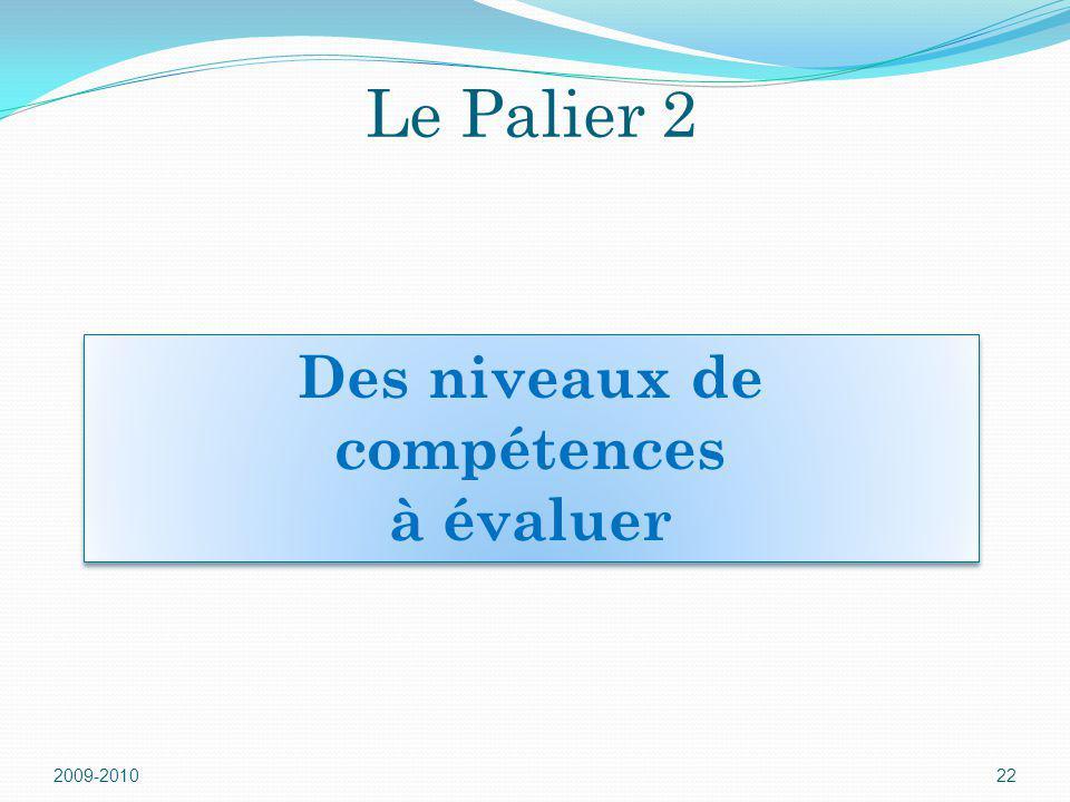 Le Palier 2 2009-201022 Des niveaux de compétences à évaluer Des niveaux de compétences à évaluer