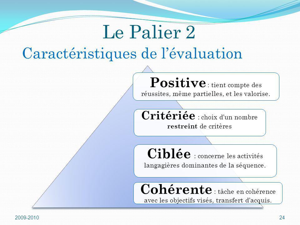 Le Palier 2 Positive : tient compte des réussites, même partielles, et les valorise. Critériée : choix dun nombre restreint de critères Ciblée : conce