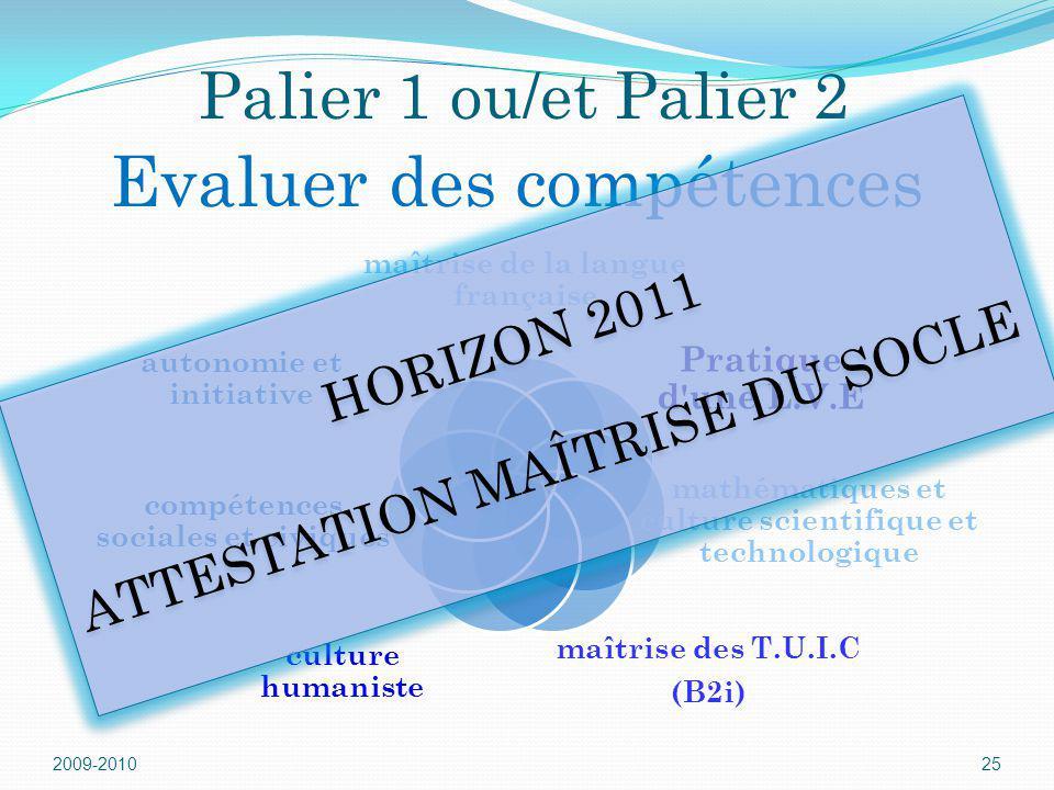 2009-201025 Palier 1 ou/et Palier 2 Evaluer des compétences maîtrise de la langue française Pratique d'une L.V.E mathématiques et culture scientifique