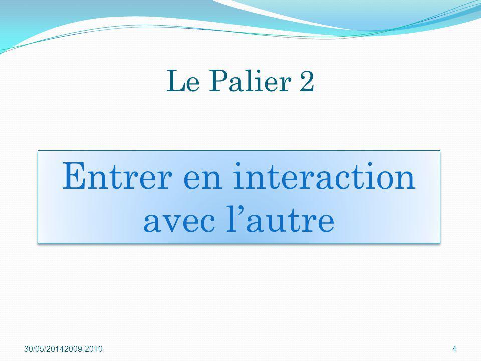 30/05/20142009-20104 Entrer en interaction avec lautre Le Palier 2