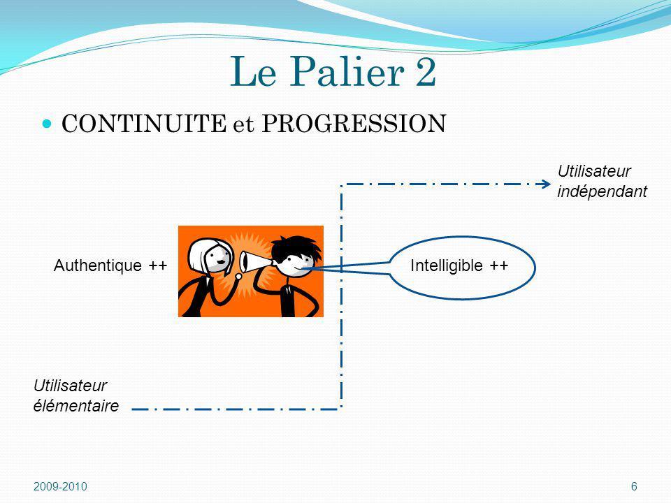 Le Palier 2 CONTINUITE et PROGRESSION 2009-20106 Intelligible ++Authentique ++ Utilisateur élémentaire Utilisateur indépendant