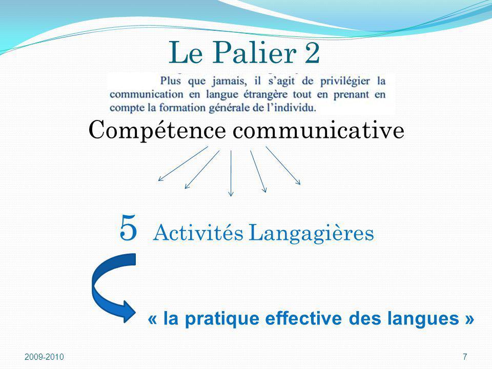 Le Palier 2 Compétence communicative 5 Activités Langagières 2009-20107 « la pratique effective des langues »