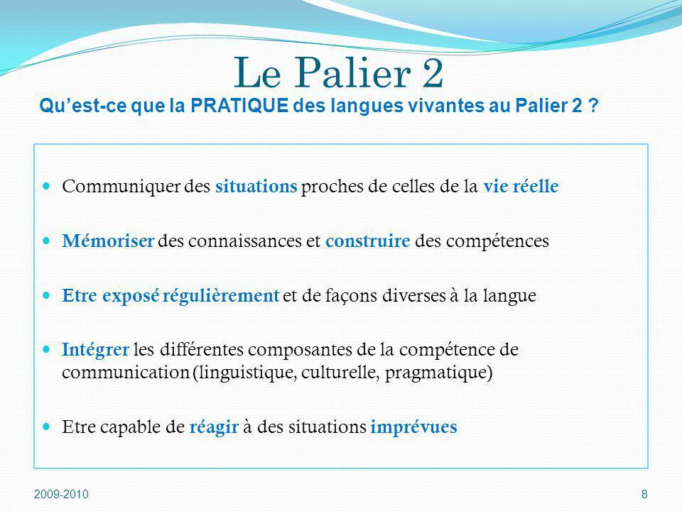 Le Palier 2 Communiquer des situations proches de celles de la vie réelle Mémoriser des connaissances et construire des compétences Etre exposé réguli
