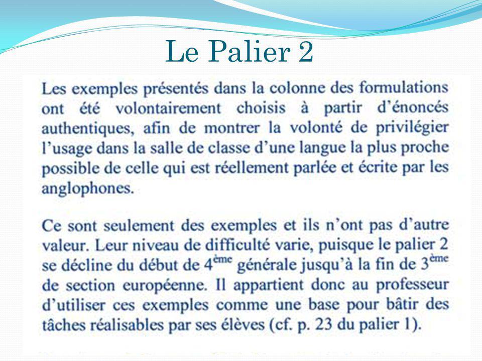 Le Palier 2 30/05/20142009-20109 Chaque A ctivité L angagière présentée sous forme de tableau Type dA.L Niveau de Compétence langagière visé Exemples