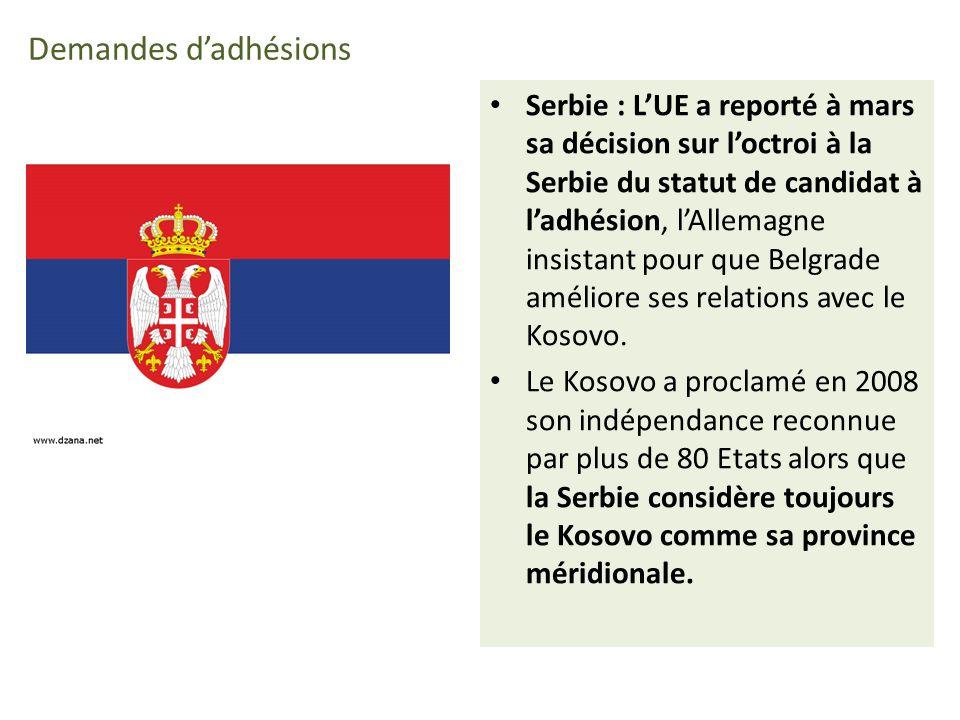 Demandes dadhésions Serbie : LUE a reporté à mars sa décision sur loctroi à la Serbie du statut de candidat à ladhésion, lAllemagne insistant pour que Belgrade améliore ses relations avec le Kosovo.