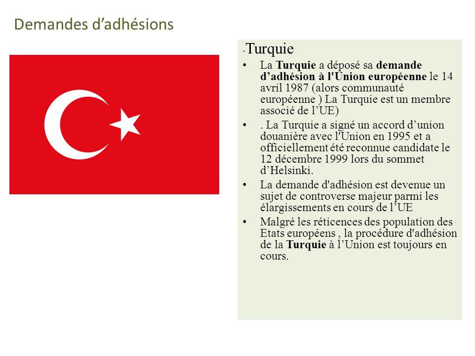 Demandes dadhésions - Turquie La Turquie a déposé sa demande dadhésion à l Union européenne le 14 avril 1987 (alors communauté européenne ) La Turquie est un membre associé de lUE).