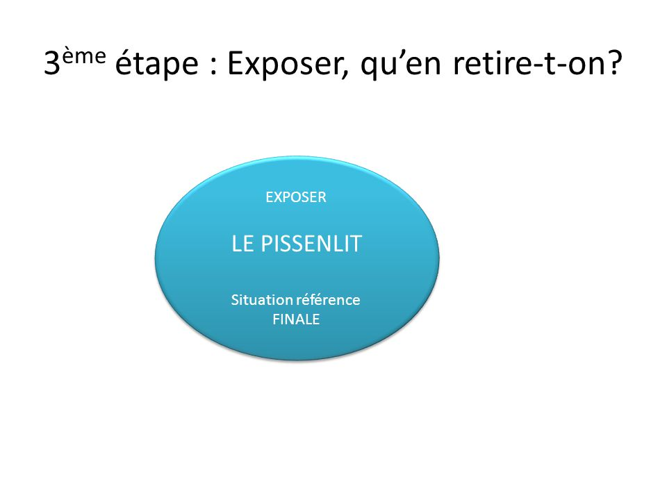 3 ème étape : Exposer, quen retire-t-on? EXPOSER LE PISSENLIT Situation référence FINALE EXPOSER LE PISSENLIT Situation référence FINALE