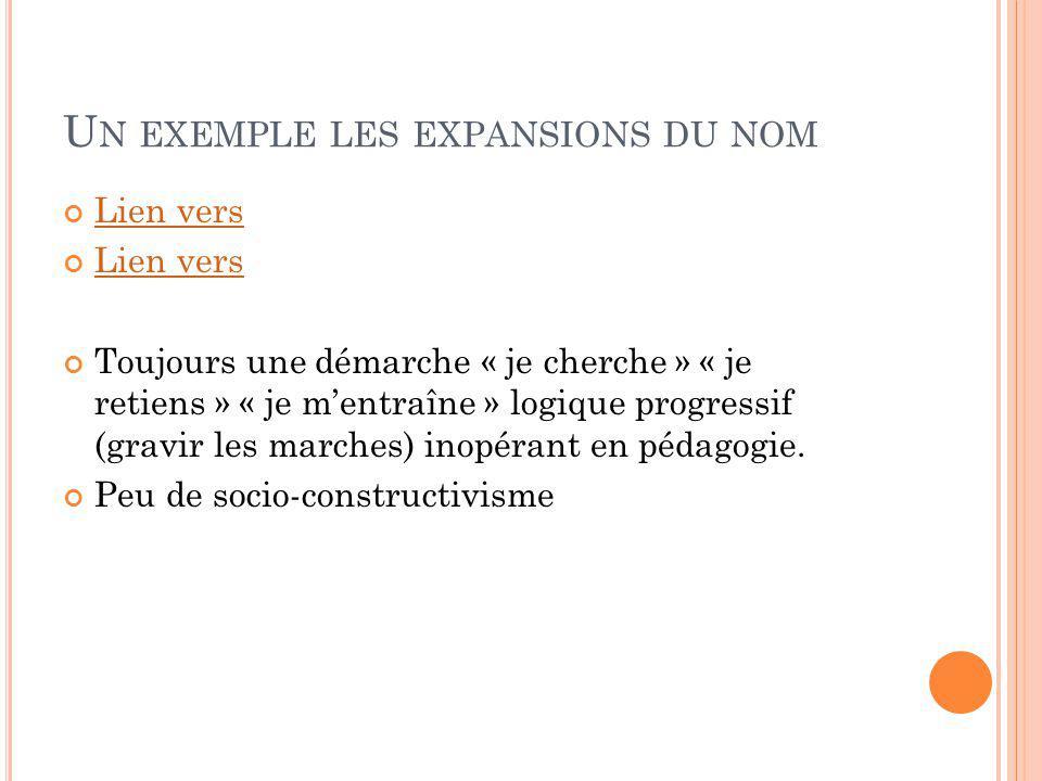 U N EXEMPLE LES EXPANSIONS DU NOM Lien vers Toujours une démarche « je cherche » « je retiens » « je mentraîne » logique progressif (gravir les marches) inopérant en pédagogie.